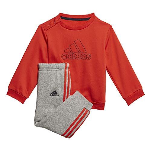 adidas I Mh Log Jog Fl Tuta, Unisex bimbi, Top:Hi-Res Red S18/Legend Ink Bottom:Medium Grey Heather/Hi-Res Red S18, 2-3Y