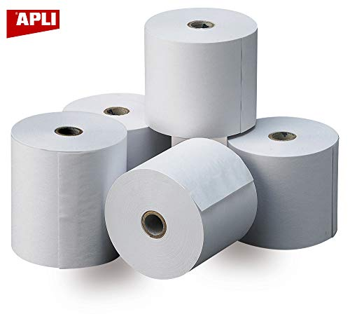 APLI 13321 - Pack de 8 rollos de papel térmico, 80 x 60 x 12 mm, color blanco