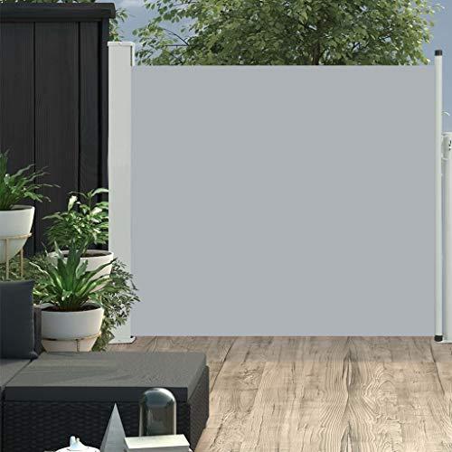 vidaXL Seitenmarkise Ausziehbar Sonnenschutz Sichtschutz Windschutz Seitenrollo Markise Seitenwandmarkise Balkon Garten Terrasse 100x300cm Grau