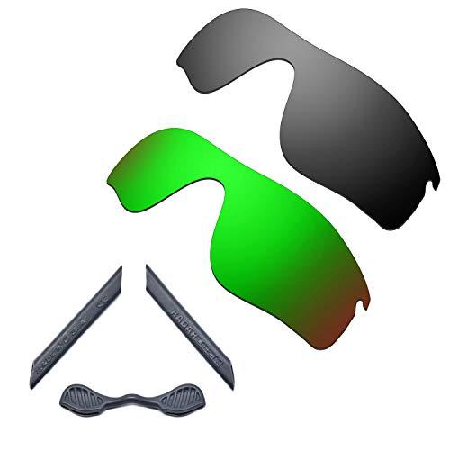 HKUCO For Oakley Radarlock Path Black/Green Polarized Replacement Lenses And Grey Earsocks Rubber Kit