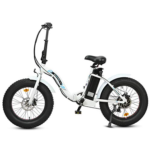 """ECOTRIC Powerful 500W Folding Electric Bicycle 20"""" Fat Tire Alloy Frame 36V/12.5AH Lithium Battery Ebike Rear Motor LED Display (White)"""