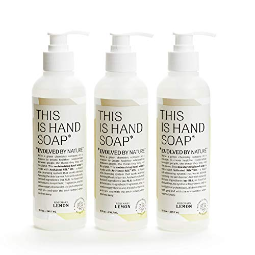 Rosemary Lemon Hand Soap by Evolved By Nature (10oz, 3-Pack) - Contains Only 12 Naturally Derived Ingredients | Free of Irritants and SLS | Cruelty-Free Moisturizing Hand Wash