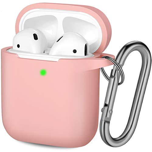 Hamile Compatible with AirPods Case [Front LED Visible] Soft Silicone Shockproof Protective Cases Cover Skin Designed for Apple AirPod 2 & 1 Wireless Charging Case, Women Men, with Keychain