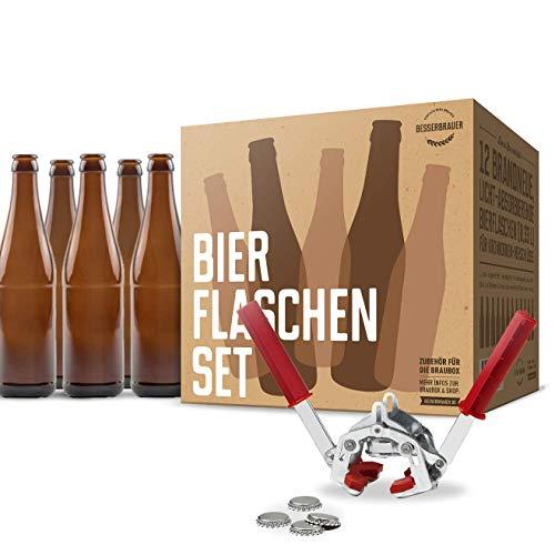 Braubox Bierflaschen-Set und Kronkorken-Verschlussgerät mit 50 Kronkorken ● Qualität von Besserbrauer
