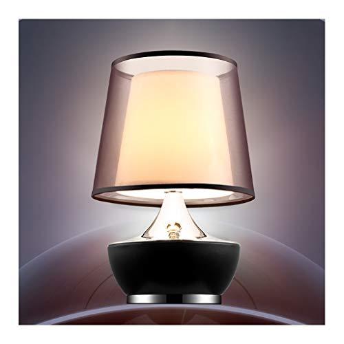 Lampara Mesa LED lámpara de mesa de metal doble tela de la cortina de lámpara de escritorio lámpara de la noche lámpara de cabecera del cuero del sostenedor Base Wrap for la iluminación del hogar Deco