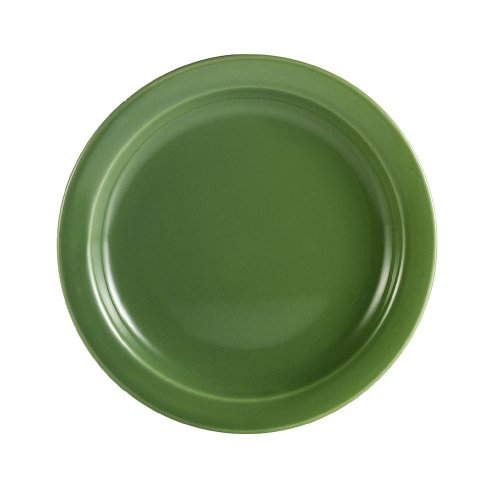 CAC China L-16NR-G Las Vegas Narrow Rim 10-1/2-Inch Green Stoneware Plate, Box of 12