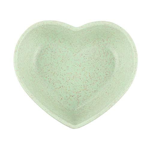 Heng Tarwe Multifunctionele kruidenkom Blad Hartvorm Kruidenkom Kleine borden Snackschaal Saus Makkelijk schoon te maken Keukengereedschap, groen hart