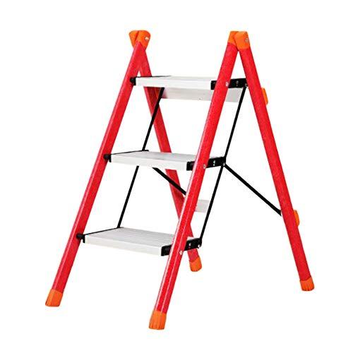 Leiter Hocker Aluminium-Legierung 3 Schicht - Tragbare Leiter Familie Folding Herringbone Maße Größe 42x68x68cm Stabilität und Sicherheit (Color : Red)