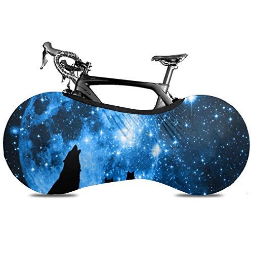 Cubierta de la rueda de la bicicleta de color blanco con plumas de pavo real portátil para interior antipolvo de alta elasticidad de la cubierta de la rueda de la bicicleta de protección de rasgaduras de la carretera mtb bolsa de almacenamiento, Lobo de luna del cielo estrellado, talla única