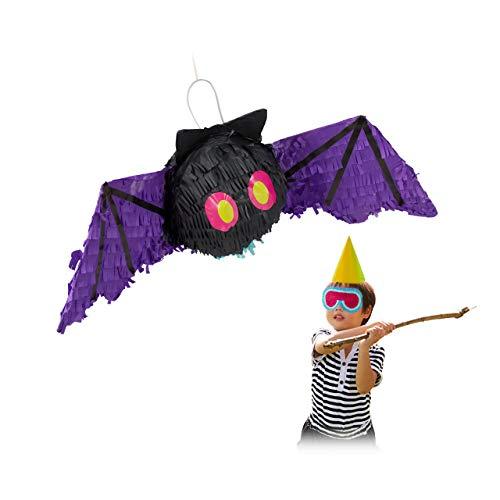 Relaxdays 10031485 Pinata Fledermaus, zum Aufhängen, Kinder & Erwachsene, Geburtstag, Halloween, zum Befüllen, Papier, schwarz