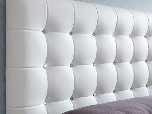 Luxus Polsterbett mit Bettkasten Selly mit Zirkonia Steinen XXL Kunslederbett Doppelbett Ehebett Weiß (180x200cm) - 2