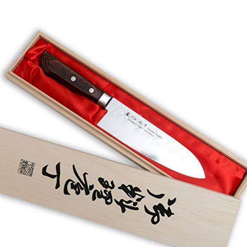 WERTA Cuchillo de cocina Santoku fabricado en Japón * Cuchillo Santoku afilado forjado con hoja de 17 cm * Cuchillo de cocina profesional