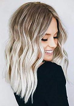 Ombre Platinum Blonde Wig Short Wavy Curly Bob Wigs For White Black Women Shoulder Length red Roots  14'' Platinum Blonde Wig