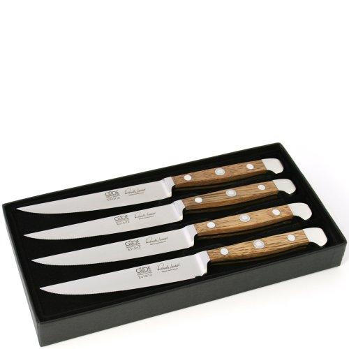 Güde Steakmesser Set Alpha Faßeiche - 4-teiliges Steakbesteck im Geschenkkarton