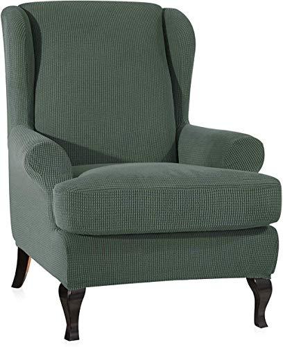 BANNAB Funda para sillón de Orejas de Jacquard Fundas de sofá Suaves elásticas universales elásticas Fundas de sillón de Orejas de 2 Piezas con Brazos extraíbles Fundas para Muebles (Rosa)