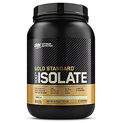 Optimum Nutrition Gold Standard 100 Percent Isolate Whey Protein Powder with BCAAs and Glutamine, Vanilla, 31 Servings, 930 g