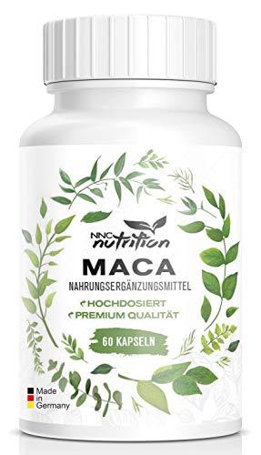 Maca Kapseln hochdosiert | 1000 mg reines Maca pro Tagesdosis mit wichtigen Vitalstoffen | Aus der Maca Wurzel Hergestellt | Für Frauen und Männer geeignet | NNC Nutrition (60 Kapseln)
