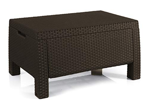 Keter Bahamas Storage Coffee Table Brown, Resin Outdoor Patio Furniture