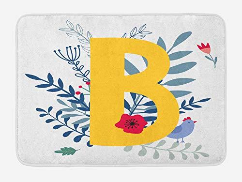 N\A Alfombrilla de baño con Letra B, Segunda Letra del Alfabeto en Ramas de Primavera, Amapolas y Pollo de Dibujos Animados, Alfombrilla de Felpa para decoración de baño con Respaldo Antideslizante