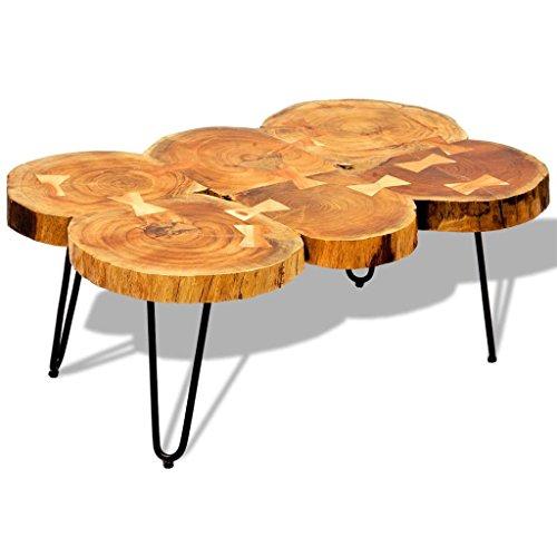 Salontafel met 6 boomstammen 35 cm massief sheeshamhout