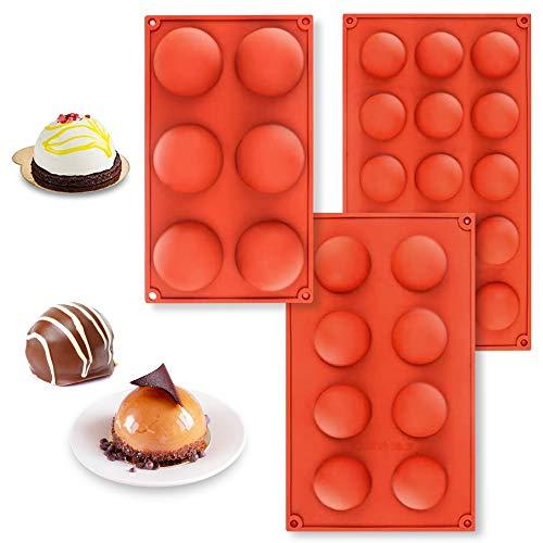 Backformen Set Schokolade Silikonform Rund Kuchen Silikonform Halbkugel Dessert Backform Rund Silikon Halbkugelform Süßigkeitenformen 6,8,15 HohlräUme Für Kinder Schokoladenbombe Cakesicle Form