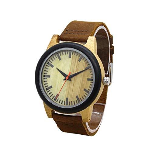 Leyue Reloj de Madera de Cuarzo, Reloj de Madera Hecha a Mano Original Industrial de la Vendimia, Negocio Casual Creativo, Salud y protección Ambiental Deportes Mejor Regalo (Color (Color : A)