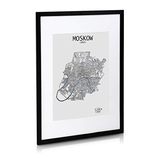 Classic by Casa Chic - Echtholz Bilderrahmen A1 - Schwarz - mit DIN A2 Passepartout - Plexiglas - Rahmenbreite 3cm