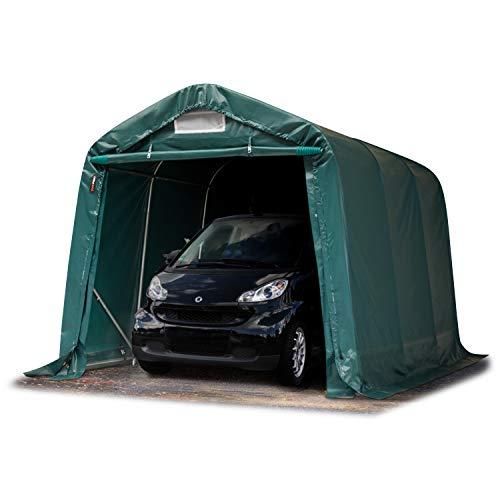 TOOLPORT Garagenzelt Carport 2,4 x 3,6 m in dunkelgrün Weidezelt Unterstand Lagerzelt ca. 550 g/m² PVC Plane und Stabiler Stahlrohrkonstruktion