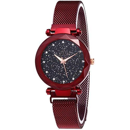 Simple Star Watch Fashion Quarzuhr für Damen, mehrschichtig, facettiert, Bump, modisch, einfaches Sternenhimmel-Zifferblatt, Stahlband, Quarzuhr