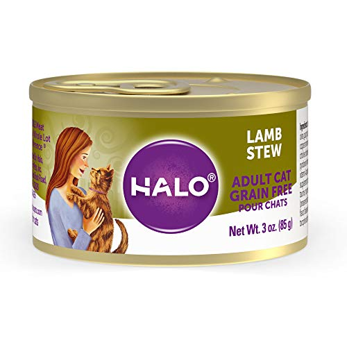 halo wet kitten foods Halo Wet Cat Food, Grain Free Cat Food, Adult, Lamb Stew 3oz Can (Pack of 12)