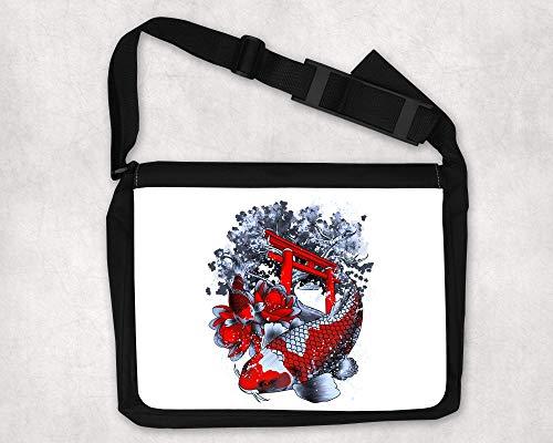 Umhängetasche mit Aufdruck, Umhängetasche für Frauen, 40x28cm, Japan Koi Fische Geisha, Mittelgrosse Damentasche, Handgemachte Umhängetasche für Frauen, Tragetasche für Damen