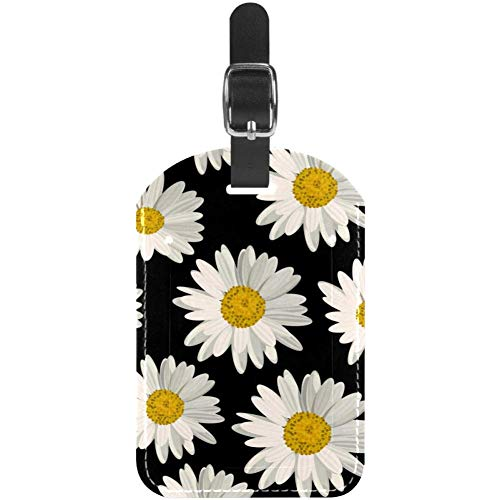 TIZORAX Luggage Tags White Daisies On Black Leather Travel Suitcase Labels 1 Packs