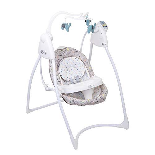 Graco Lovin Hug elektrische Babyschaukel, mit Spielbogen für Babys und Tisch, ab 0 Monate für Neugeborene, Babyschaukel elektrisch mit Musik und Naturgeräuschen, zusammenklappbar, Daydream