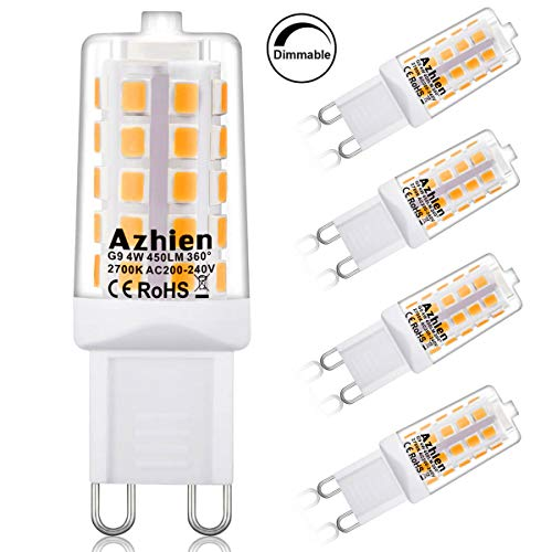 G9 Bombillas LED Regulables 4W,Azhien Blanco cálido 2700K Lámparas LED,Equivalente a 28W 33W 40W G9 Luz halógena, 450Lm 200-240V AC, Sin parpadeo, Ángulo de 360 grados,Paquete de 5