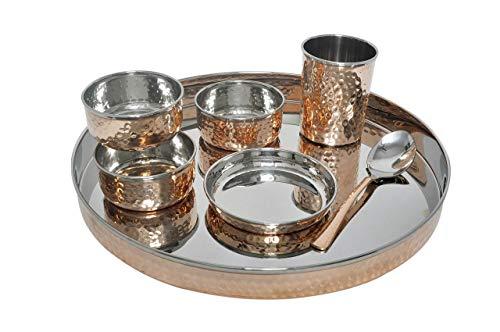 TreegoArt Juego de vajilla de acero de cobre Thali, cuencos, plato Halwa, cuchara, tenedor, cristal, estilo tradicional, 7 piezas, diámetro Thali 33 cm