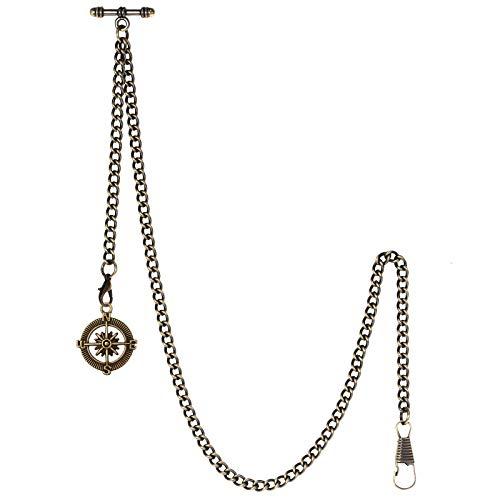 TREEWETO Taschenuhrkette mit T Bar Endstück Albert T-Bar Taschenuhr Kette mit Antiker Kompass-Anhänger und 2 Haken für Weste Knopfloch Bronze