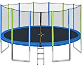 Merax 16-Feet Round Trampoline with Wind Stakes, Safety Enclosure and Ladder, Trampoline for Kids (Blue Green)