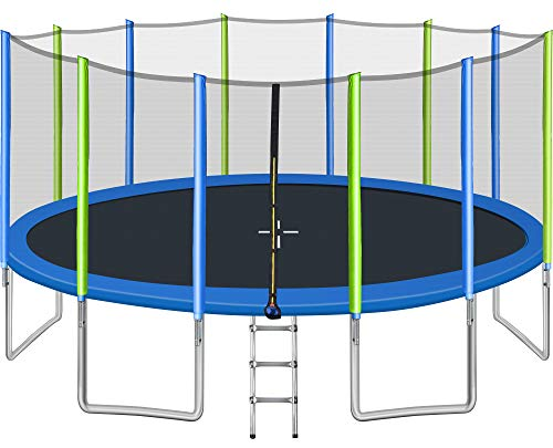 Merax 16-Feet Round Trampoline with Wind Stakes, Safety Enclosure and...