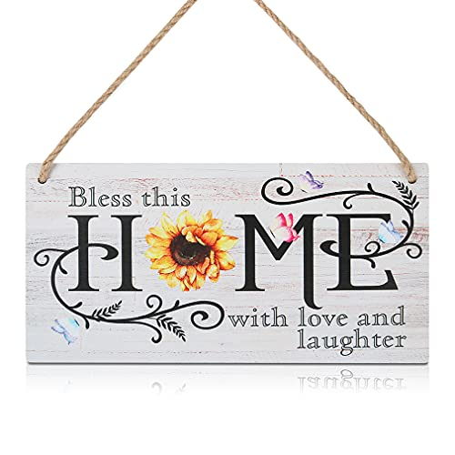 CHDITB Sunflower Rustic Wooden Home Sign Plaque, Bless This Home with Love and Laughter Inspirational Saying Hanging Wooden Door Decor(11' x 6'), Colorful Butterfly Wood Wall Art Sign for Home Office