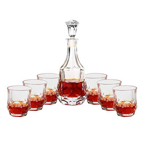 JNMDLAKO Juego de Whisky con decantador y 6 Vasos Vintage, con tapón de Vidrio, Cristal sin Plomo 800 ml / 300 ml para Licor, escocés, Bourbon, Vodka