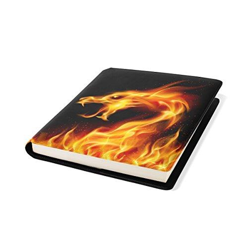 COOSUN Fire Dragon Book Cover Sox Stretchable Livre, La Plupart des Fits Relié jusqu'à 9 manuels x 11. adhésif Libre, école Cuir PU Livre Protector 9 x 11 Pouces Multicolore