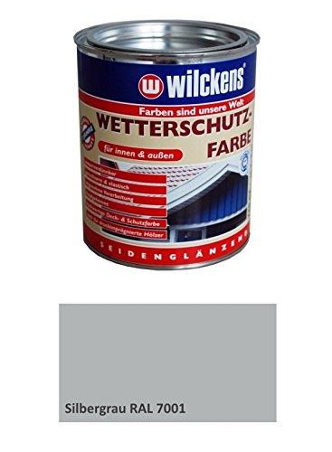 Wilckens Wetterschutzfarbe 2,5 Liter Innen, Außen Silbergrau RAL 7001 Seidenglänzend