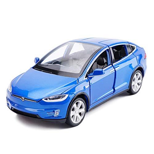 BJLWTQ Model Car Tesla X Off-Road SUV 1:32 Simulation Die-Casting Alloy Toy Car Model Decoration 15x5.5x4.5CM (Color : Blue)