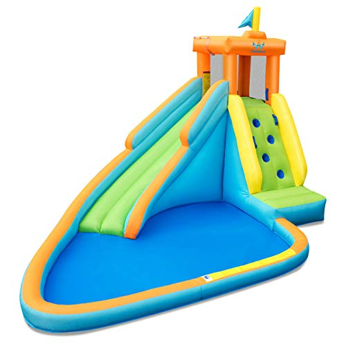 HONEY JOY Inflatable Water Slide, Kids Bounce House w/Long Slide, Climbing Wall, Splash Pool, Including Oxford Carry Bag, Repairing Kit, Stakes, Hose, Outdoor Party Water Play Center