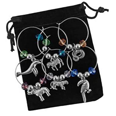 Stefania Sole Wine Glass Charms – Steel Rings with Beads and Stainless Steel Charms – Unique Design, Handmade Accessories - Set of 6, for Weddings, Dinners & Parties – Animals World