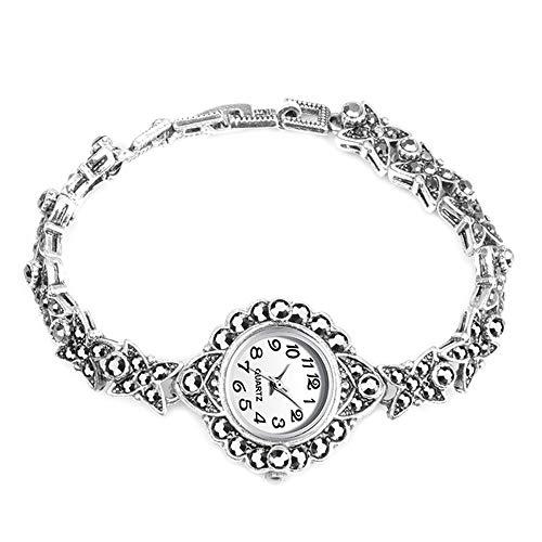 Reloj de Mujer 2020 Relojes de Mujer nuevos Relojes de Mujer de Plata Antigua de Moda Reloj de Pulsera de Cristal Negro Brillante Joyería Vintage al por Mayor