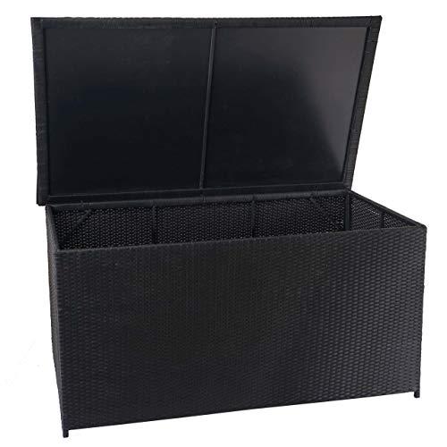 Mendler Poly-Rattan Kissenbox HWC-D88, Gartentruhe Auflagenbox Truhe ~ Basic schwarz, 80x160x94cm 950l