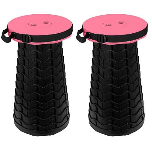 Trendyshop365 Teleskop-Sitzhocker bis 180kg 10-Fach höhenverstellbar Hocker faltbar Duschhocker Camping Angeln Sitzgelegenheit für unterwegs klappbar rund Kinder Erwachsene (pink - 2 Stück)