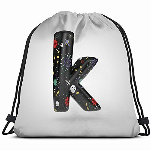 XCNGG Santa Muerte Letter K Lowercase 3 D Signs Symbols 3D Drawstring Backpack Gym Sack Lightweight Bag Water Resistant Gym Backpack For Women&Men For Sports,Travelling,Hiking,Camping,Shopping Yoga
