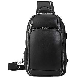 Lannsyne 本革 ボディバッグ ワンショルダーバッグ メンズ ナッパレザー 大容量 USBポート iPad対応 多機能 斜め掛けバッグ カジュアル 鞄